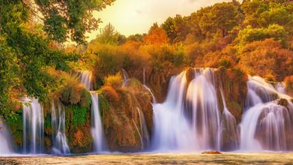 Beautiful Waterfalls in the river Krka, croatia