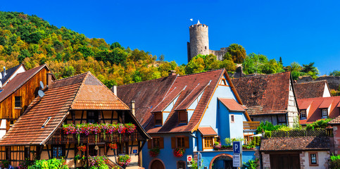 Fototapete - Kaysersberg  - one of the most beautiful villages of France, Alsace region famous vine route