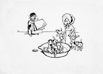 Illustration by Cecil Aldin, Ten Little Puppy Dogs