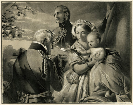 Victoria and Albert with Duke of Wellington and Their Son