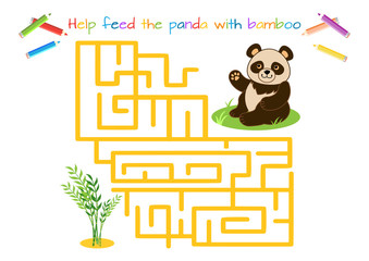 Funny little Panda.  Maze game for kids. Educational game for children. Cartoon vector illustration