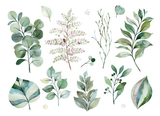 Watercolor green collection.Texture with greens,branch,leaves,fern leaves,foliage.Perfect for wedding,invitations,greeting cards,quotes,patterns,bouquets,logos,Birthday cards,your unique creation. Wall mural