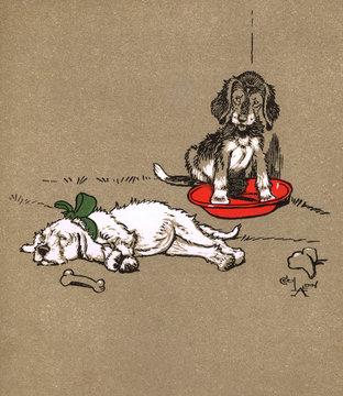 Frontispiece Design by Cecil Aldin, Puppy Tails