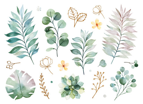 Watercolor green collection.Texture with greens,branch,leaves,yellow flowers,foliage.Perfect for wedding,invitations,greeting cards,quotes,patterns,bouquets,logos,Birthday cards,your unique creation.