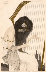 Raphael Kirchner Art Nouveau Girl Playing the Harp