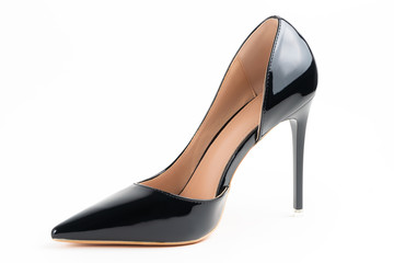 Luxury black high heel isolated on white background..With clipping path for design and artwork. High quality image.
