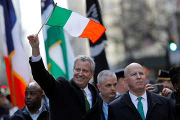 New York City Mayor Bill de Blasio and New York City Police Department (NYPD) Commissioner James O'Neill s march in the 258th St Patrick's Day Parade in New York