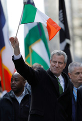 New York City Mayor Bill de Blasio marches in the 258th St Patrick's Day Parade in New York