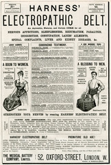 Advertisement for HArness ElectropAthic Corset Belts 1887