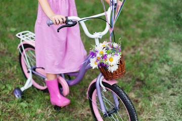 Little girl is riding on lilac bicycle with wicker basket with bouquet of summer flowers. Kid is wearing in pink dress and rubber boots. Child is playing in park.
