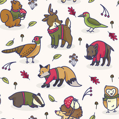Cute woodland animal cartoon seamless vector pattern background. Pheasant and Woodpecker graphic tile. Hand drawn deer, fox and badger illustration for forest fauna fashion Prints.