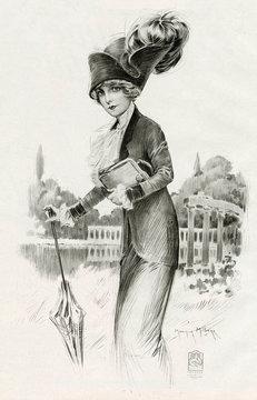 Woman Wearing Smart Suit with Jabot Ruffles 1912