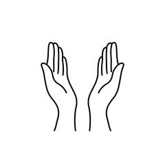 thin line prayer hands black icon