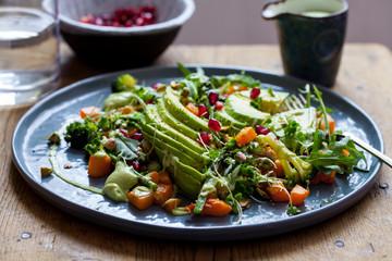 Salad with avocado, quinoa and butternut squash