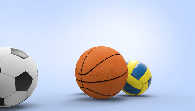Soccer Ball, Volleyball, Basketball  Sports on blue background and  and Summer- holidays - 3d rendering