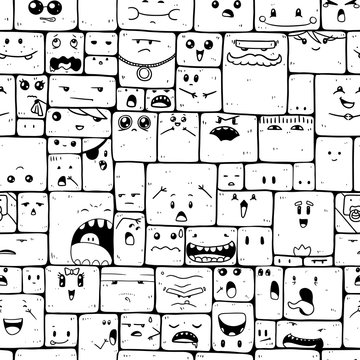 Vector seamless black and white pattern with crazy doodle characters.