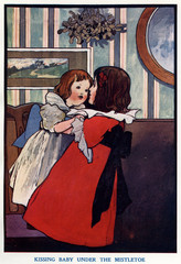 Kissing Baby Under the Mistletoe by Charles Robinson