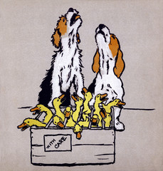 Illustration by Cecil Aldin, the Farmyard Puppies