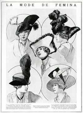 Edwardian Women in tricorne and bicorne Hats 1912