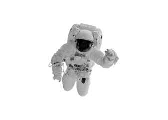 Floating astronaut In the absence of gravity in space, isolated with clipping path.Elements of this image furnished by NASA