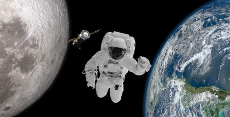 Floating astronaut In the absence of gravity in space Astronauts floating in space without gravity in space In the middle between the world and the moon.Elements of this image furnished by NASA