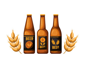 bottle of beer and wheat isolated icon