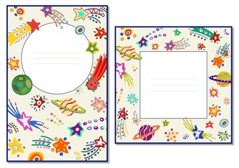 Template cards with colorful comets and stars. Space. Vector illustration