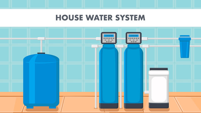 House Water System Cartoon Web Banner with Text