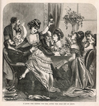 People Enjoying a Dinner Party After Visiting Ascot