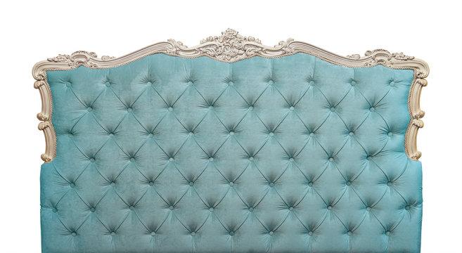 Blue velvet bed headboard isolated on white