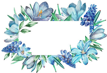 Watercolor frame of blue spring flowers.