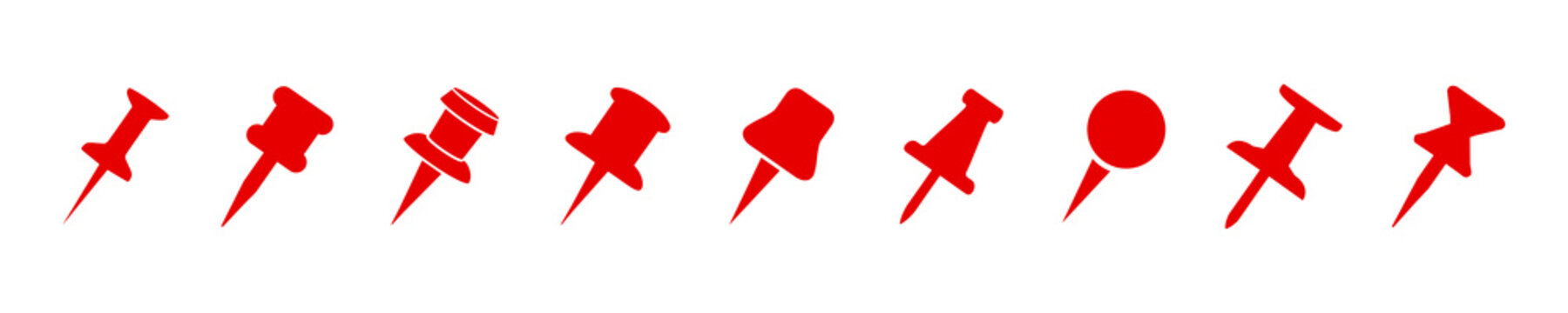 Set push pin sign icons for web site, page and mobile app design element. Push pins pinned in different angles – for stock