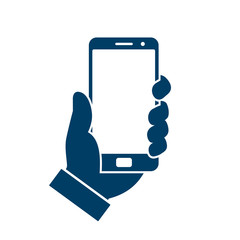Human hand holding smartphone. Phone holding flat icon sign - vector