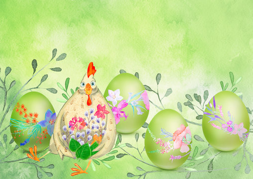 Easter watercolor background