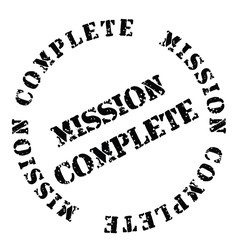 Mission Complete stamp on white