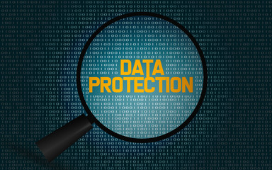 Data protection word with magnifying glass
