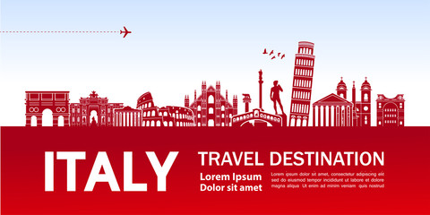 Fototapete - ITALY travel destination vector illustration.