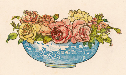 Roses in a Willow Pattern Bowl