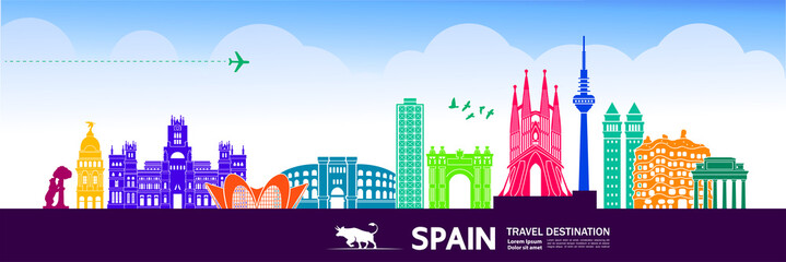 Fototapete - Spain travel destination vector illustration.