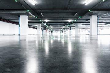 Empty Car Parking Lot in Underground Floor, Vehicle Park in Department Store.