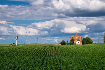 Old 15th century St Michael fortified church is in a summer landscape in Synkovichi village, Grodno region, Belarus.