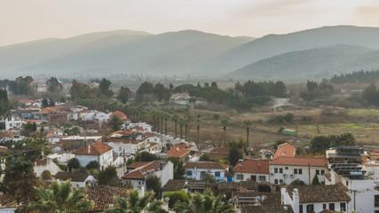 Town of Selçuk by hills at dusk, in Selçuk, Turkey