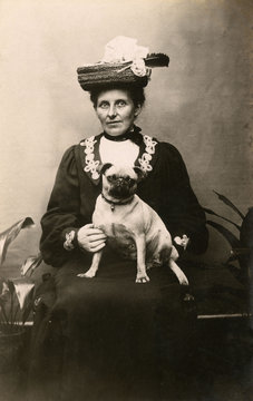 Woman with Dog in Studio Photo