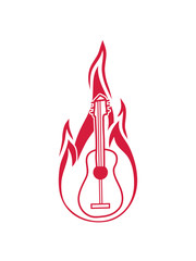 logo brennen gitarre feuer flammen heiß lernen spielen song cool sänger band party feiern spaß clipart comic cartoon design