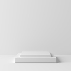 Abstract geometry square shape white color podium on white background for product. minimal concept. 3d rendering