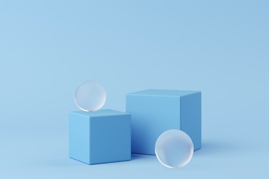 Abstract geometry shape blue color podium with frosted glass on blue background for product. minimal concept. 3d rendering