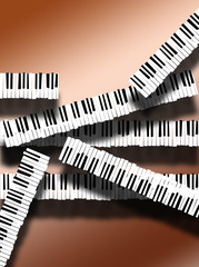 Piano keyboards are arranged in an interesting way in this image. This is an illustration.