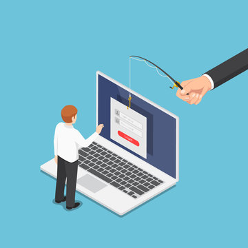Isometric hacker trying to steal data from businessman by phishing scam