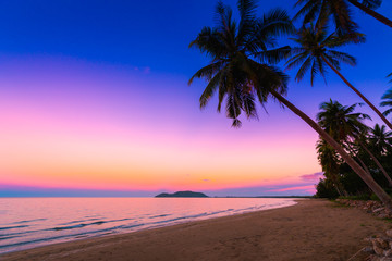 Panorama view of sunset sky on tropical beach in twilight time at Phuket province, Southern of Thailand