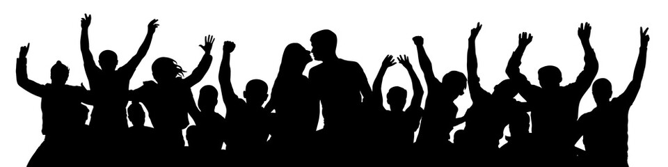 Cheerful crowd people silhouette. Kiss of young couple